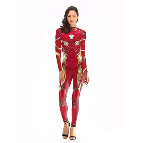 Ironman Kostüm Weiblicher - Erwachsenes Cosplay-Kostüm Halloweens, Psychedelischer Iron Man-Druckoverall des Halloween-Kostüms 3D Passend für Halloween/Partei/Rollenspiele,1,S