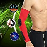 Red, L : Basketball Crash Support Elbow Pad Arm Sleeve Breathable Support Safety Sport Elbow Pad Brace Protector