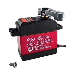 YUNIQUE Italia ® Servomotor de Engranajes Full Metal DS3225 Digital Servo 25 kg de Alto par con servomotor Servo con levas automodelismo 25T para camión robotizado Modelo Baja Car 1/10