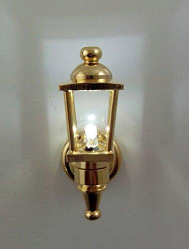 Puppenhaus Miniatur 1:12 Beleuchtung LED batteriebetriebenes Licht Messing Außen Laterne Lampe