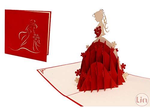 LIN17339, POP UP Karten, 3D Karten Geburtstag Mädchen, Grußkarte Prinzessin, Geburtstagskarten, Grußkarte Hochzeit, Brautkleider, Prinzessin, N225 (Mädchen Cinderella Brautkleid Für)