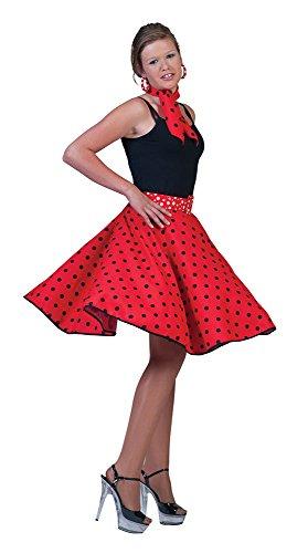 Female Fancy Dress - Gonna da Rock n Roll anni 50, con bandana, taglia 40-48 Colore: Rosso