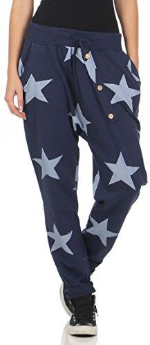 Malito Damen Jogginghose mit Knopfleiste | Sporthose mit Sternen | Baggy zum Tanzen | Sweatpants - Trainingshose 3303 (dunkelblau)