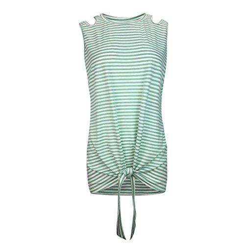 ESAILQ Femmes Casual Stripe O Neck sans Manches Gilet Bandage Tank Top Blouse T-Shirt