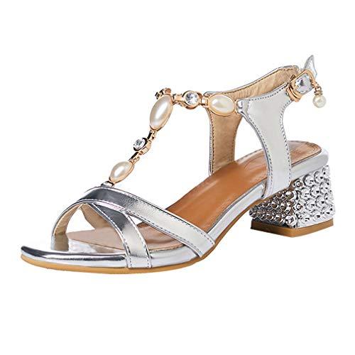 UH Damen T Spange Chunky Heels Sandalen Ankle Strap Pumps mit Blockabsatz Strass Bequeme Sommer Schuhe Ankle Strap T-strap-heels