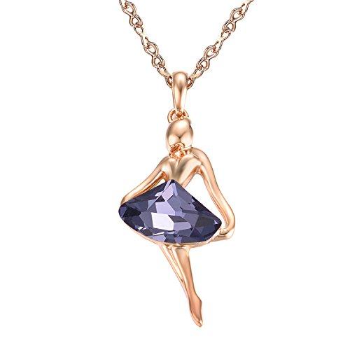 Elegante Amethyst Ballerina Anhänger Mädchen Halskette Golden Farbe Blau Österreichischen Kristall für Damen Frauen Mädchen (Mich Ballerinas Zu)