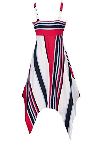 Chez BoBos Robe Femme Courte Asymétrique à Bretelles Décontractée Robe Casual Bleu et Rouge