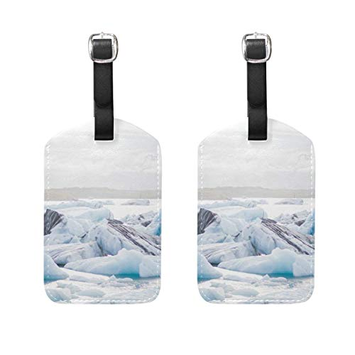 North Pole Ice Travel Luggage Tags,Business Suitcase ID Labels,PU Leather Delicate Printing Bag Card Holder Set of 2 -