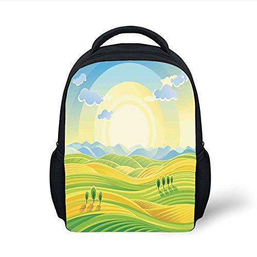 Kids School Backpack Farm House Decor,Sunny Rural Landscape with Rolling Hills Fields in Autumn Color Cartoon Art Print,Yellow Green Plain Bookbag Travel Daypack