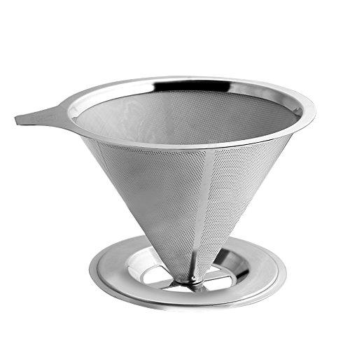 Edelstahl Kaffee über papierlosen POUR Tropfer Set mit doppeltem Netz Filter