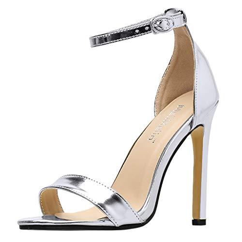 XNBZW Damen Peep Toe Kätzchen Abend Schuhe | Sommer Stiletto Sind Einfach Single Strap Style High Heel | 11CM Hochzeit Party patent-Leather Pump | Übergröße Elegant Schuhe mit Schnalle(Silber,39)