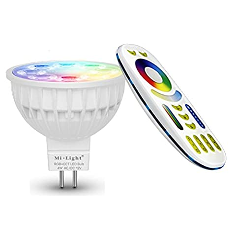 Lighteu, 1 x Ampoule LED Multicolore RVB/RGB plus blanc chaud, WiFi, 4W/GU5.3, Milight original®, intensité variable, possible de contrôler par Télécommande sans fil 2.4GHz RF, Android ou iPhone (1 x 4W/GU5.3 + Télécommande) [Classe énergétique A+]