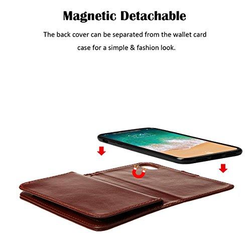 xhorizon MLK étui en Cuir de Haute Qualité Portefeuille Porte-monnaie Magnétique Amovible Détachable Séparable Sac à Main Souple Compartiments Couvercle pour Cartes Multiples pour iPhone X / iPhone 10 Café +9H Glass Tempered Film