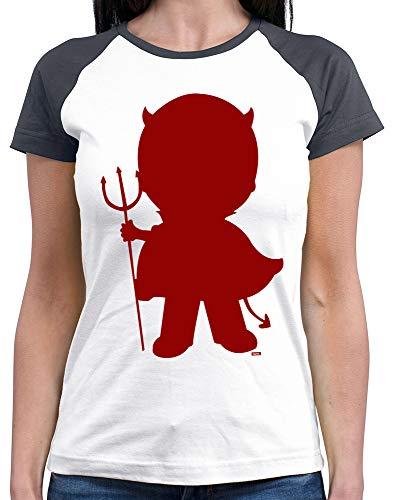 HARIZ  Damen Baseball Shirt Halloween Teufel Halloween Kostüm Horror Kürbis Plus Geschenkkarten White/Navy M