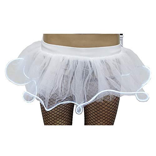 Andouy Damen Party Club LED Beleuchtung Tutu Rock Tüll Mini Blase Kostüm Dress-up Sexy Größe 36-50(44-50,Sahne)