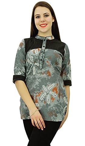 Phagun 3/4 Sleeve Printed Kurta Top Short Kurti Cotton Women Clothing