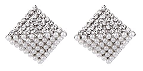 CLIP ON EARRINGS - SILVER PLATED CRYSTAL ZIRCONIA & WHITE