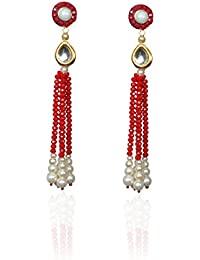 Sansar India Kundan Beaded Tassel Traditional Earrings for Girls and Women