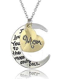 rosimall I Love You To The Moon And Back Collar con Colgante Encanto Regalo para el día de la Madre