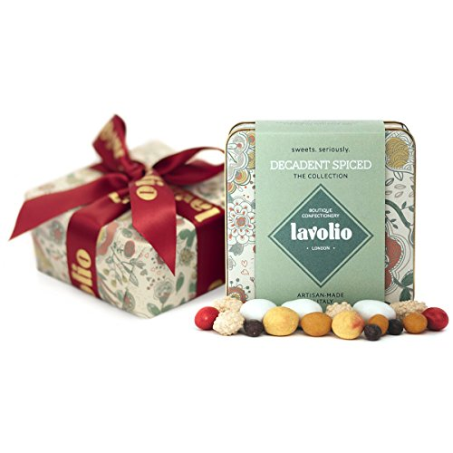 Lavolio Giftwrapped Decadent Spiced Confectionery Gift Tin (175g) - Premium Selection of Covered Nuts, Coffee and Spices and Luxury Chocolate Sweets, Perfect Present for Him or Her