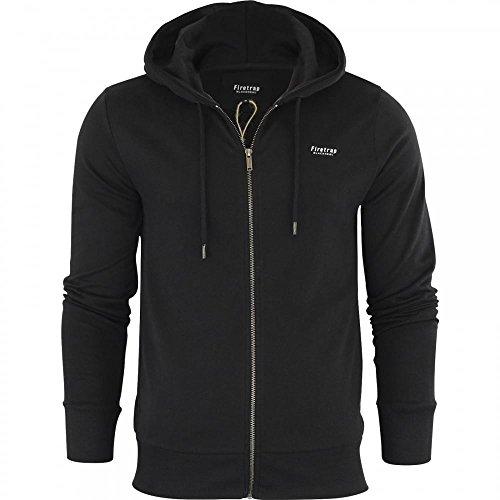 Firetrap Original Mens Designer Classic Overhead Pullover Hoodie Hooded Jumper Sweatshirt Top Medium Black - Full Zip