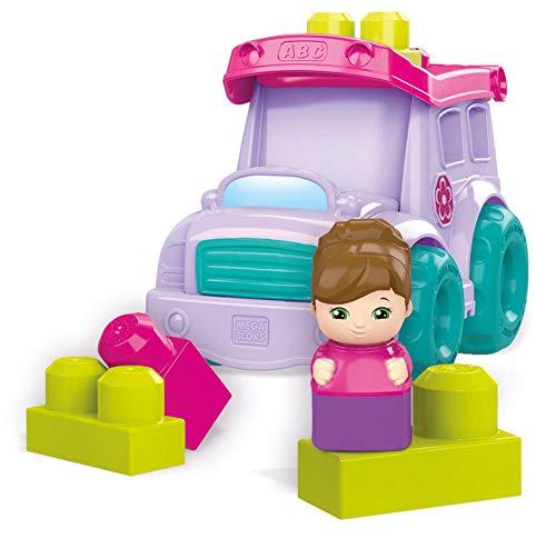 Mega Bloks Autocar del Cole Color Morado, Juego de Bloques de construcción, (Mattel DYT61)