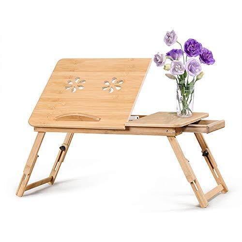 Cozihoma Mesa de Cama para Portátil Laptop Mesa Plegable de Bambú Ajustable con Bandeja de Soporte de cajón para Escritura Cama Mesa
