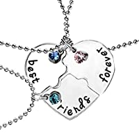 Best Friends Forever and Ever Necklace 3 Pcs Set - Inlaid Rhinestones - Best Friend Gift Necklace