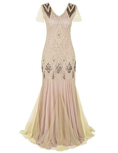 Kayamiya 1920er Jahre Lange Abschlussball Kleid Wulstig Pailletten Art Deco Formell Abendkleid Mit Hülse L Champagner Rosa (Kleid Abschlussball-lange Elegante)