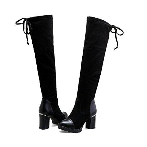 Damen Langschaft Stiefel Stiefeletten,Hffan Women Mittlerer Absatz Martin Herde Baumwolle Stoff Elastisch Boots Reißverschluss Bandage Knöchel Stiefel Fersen Schuhe Shoes (38, Schwarz) (Ferse-gummi-stiefel)