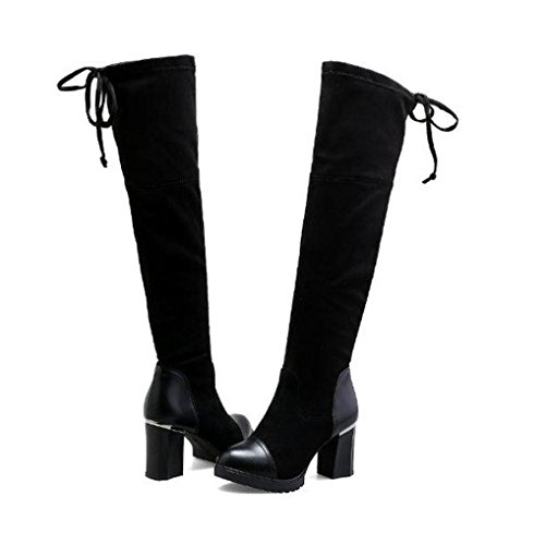 Damen Langschaft Stiefel Stiefeletten,Hffan Women Mittlerer Absatz Martin Herde Baumwolle Stoff Elastisch Boots Reißverschluss Bandage Knöchel Stiefel Fersen Schuhe Shoes (37, Schwarz) (Reißverschluss Ferse)