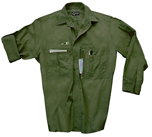 Commando Industries CI Traveller Hemd mit vielen Taschen Outdoorhemd Reisehemd Freizeitshirt verschiedene Ausführungen (XXL, Oliv)
