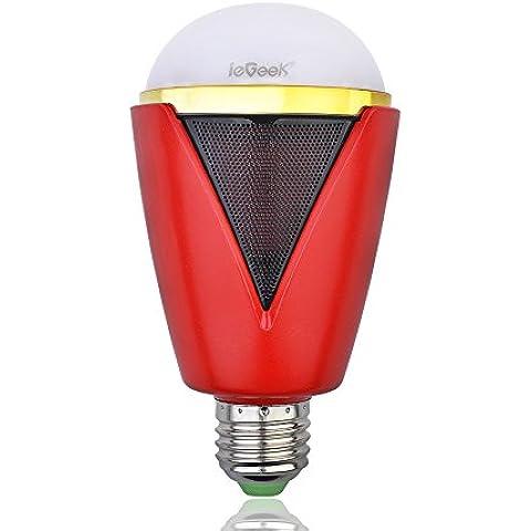 ieGeek - Bombilla y altavoz inalámbrica Bluetooth con colores intercambiables. RGB 5W E27/E26, audio con luz LED controlada a través de APP gratis. Soporta iPhone iPad iOS Samsung Sony Android Smartphones y Tablets. Clasificación Energética A.