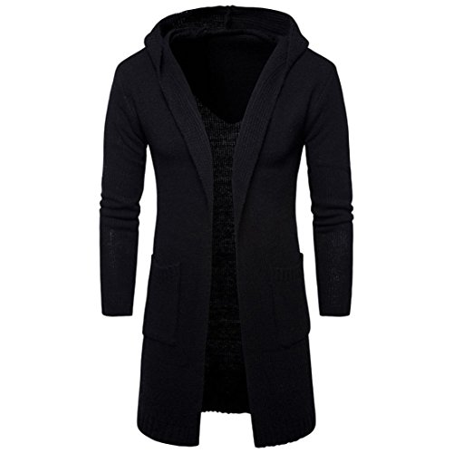 YunYoud Mode Herren Strickjacke Open Jacke Lang Cardigan Knit Mantel Strick Jacke Hoodie Hoody Sweatshirt Sweatblazer Slim Fit Lange Ärmel Coat (XXL, Schwarz) (Breasted Double Band)