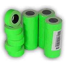 Rollos de papel adhesivo para pistola de etiquetar, en color verde, de 21 x