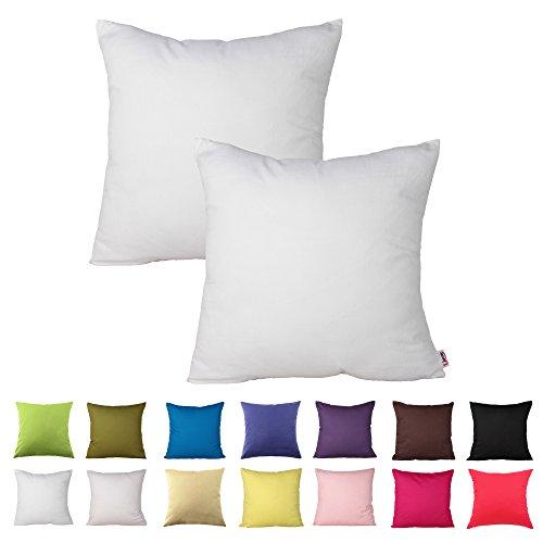 Queenie-2PCS Farbe Baumwolle dekorative Kissenbezug Kissenbezug für Sofa Überwurf Kissen Fall erhältlich in 14Farben & 5Größen, Baumwolle, Gebrochenes weiß, 22 x 22 inch (55 x 55 cm) (Dekorative Kissen 22 X 22)