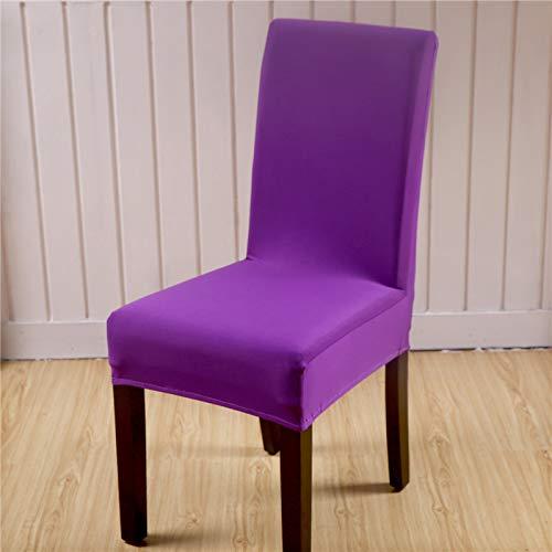 Solide Farben Flexible Stretch Spandex Stuhlabdeckung Für Hochzeit Elastische Multifunktionale Esszimmer Möbelbezüge Wohnkultur Purple universal Sizes