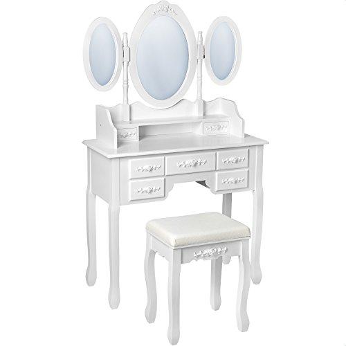 TecTake-Mesa-de-maquillaje-tocador-con-taburete-con-3-espejos-y-cmoda-7-cajones-blanco