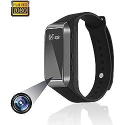 Reloj pulsera inteligente Cámaras ocultas reloj deportivo 1080P Mini cámara espía de video con pasos de la pista, monitoreo de la calidad del sueño, videocámara con grabadora de vigilancia Adecuado para teléfonos iPhone y Android