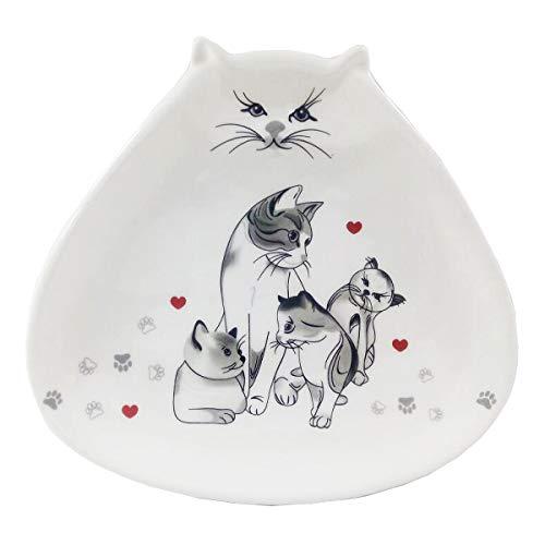Les Trésors De Lily [Q3796 - Coupelle Vide-Poches céramique 'Un Amour de Chats' Gris Blanc - 18.2x19.5 cm