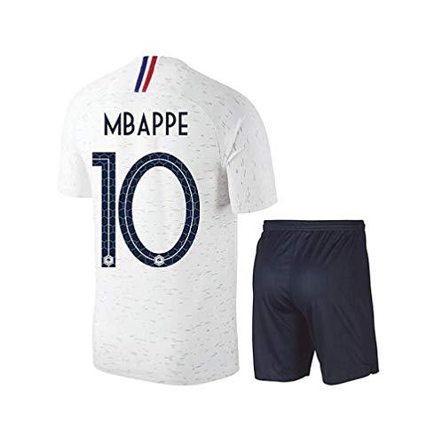 BUY-TO Frankreich T-Shirt Fußball Jersey MBAPPE # 10 Französische Nationalmannschaft 2018 WM Männer und Frauen und Kind (NO Brand Logo),White,Adult-S -