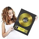 Goods & Gadgets Goldene Schallplatte als personalisierte Urkunde mit Holz-Rahmen - Persönliches Geschenk 46 x 36 cm