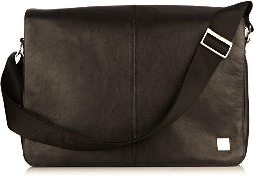 Knomo Bags Brompton Bungo Expandable Messenger Leder Hülle für Notebook bis 38,1 cm (15 Zoll) schwarz