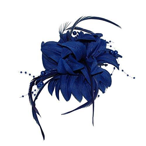 Plumes et perle bleu marine Floral Fleur Broche Pince bec Bibi