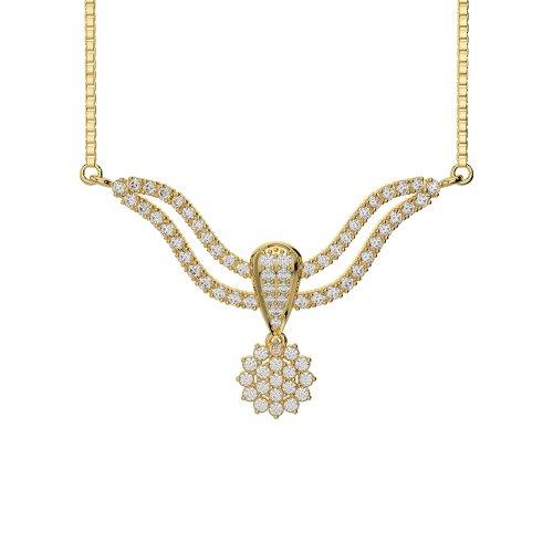 Or blanc/or jaune/Platine Diamant Collier avec chaîne dtn-32-vsgh