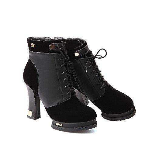 VogueZone009 Damen Gemischte Farbe Hoher Absatz Reißverschluss Rund Zehe Stiefel mit Knoten Schwarz