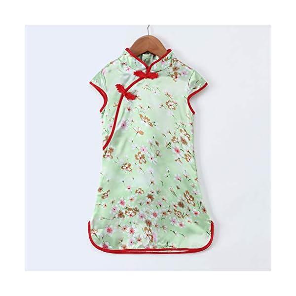 Aini Vestido De Bebé NiñAs Vestido De NiñA Cheongsam Vestido Estampado Estilo Chino para NiñA Vestido Manga Corta Floral… 4