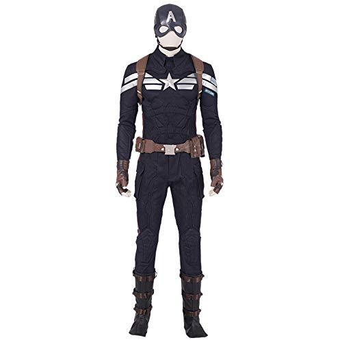 2 America Kostüm Captain - Avengers Captain America 2 Cos Kleidung Schild Helm voller Satz Cos Kostüme Halloween-Kostüme,Black-M