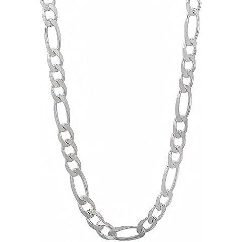 The Bling Factory - Collana a catena con maglia Figaro, in vero argento Sterling 925, da uomo, spessore: 4,5 mm