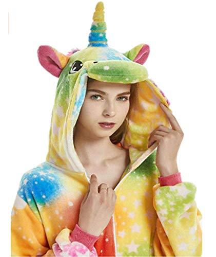 JXUFUFOO Pijama Unicornio Disfraz Cosplay Onesie Animal Ropa de Dormir Halloween Carnaval para Mujer Hombre, S(Altura 1,43m-1,55m)